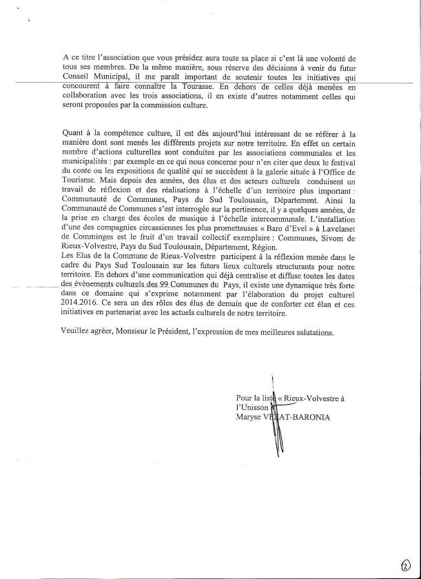 Réponse de Mme le Maire 2-2. 20-03-2014